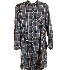 BC Clothing Woman Plaid Button Front Tie Dress XL